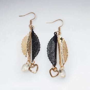 Bold Duel Hues Crystal Adorned  Leaf Dangle Hook Brass Earrings