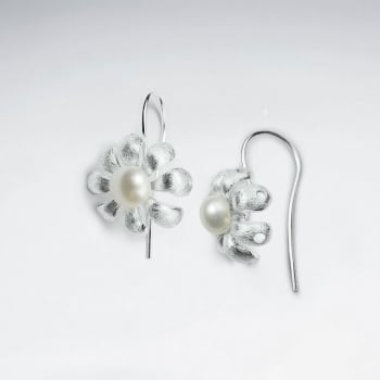 Botanical Lovelies Matte Silver Pearl Hook Earrings