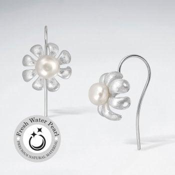 Botanical Lovelies Matte Silver Pearl Hook Earrings