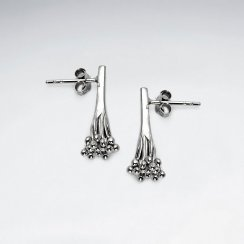 Bouquet of Glam Stud Drop Earrings in Sterling Silver