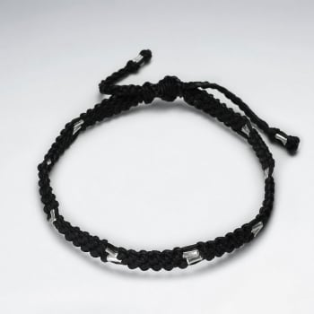 Braided Black Wax Cotton and Sterling Silver Beaded Bracelet