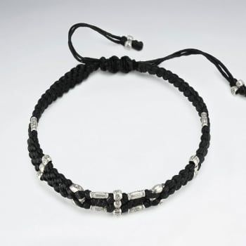 Braided Black Waxed Cotton Amethyst Native Bead Bracelet