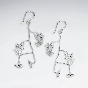 Branching Sterling Silver Matte Flower Blossom Dangle Earrings