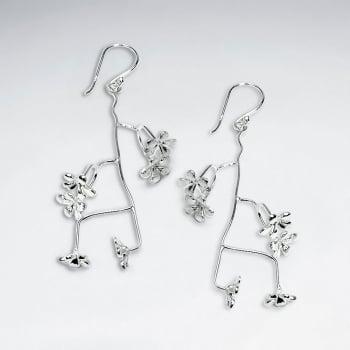 Branching Sterling Silver Matte Flower Blossom Dangle Earrings
