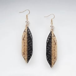 Brass & Black Tone Crystal Adorned Dangle Hook Earrings