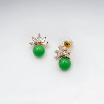 Brass Crowning Crystal Bead Stud Earrings