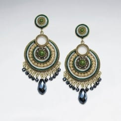 Brass Crystal Mixed Stone Green Aztec Inspired Fringed Earring