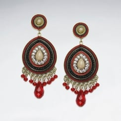 Brass Crystal Mixed Stone Red Aztec Inspired Dangle Stud Fringed Earring