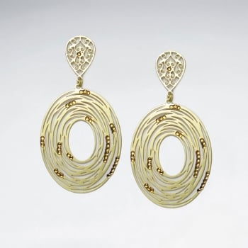 Brass Crystal Stone Abstract Spiral Oval Openwork Dangle Earrings