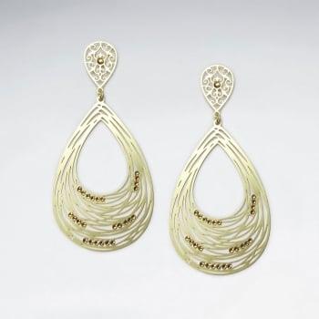 Brass Crystal Stone Abstract Spiral Teardrop Openwork Dangle Earrings