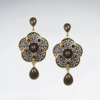 Brass Crystal & Stone Vintage Filigree Dangle Earrings