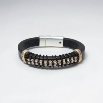 Brass & Crystal Studded Leather Bracelet