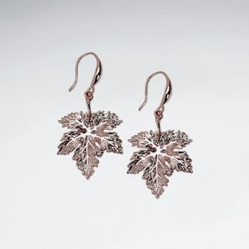 Brass Detailed Leaf Hook Earrings