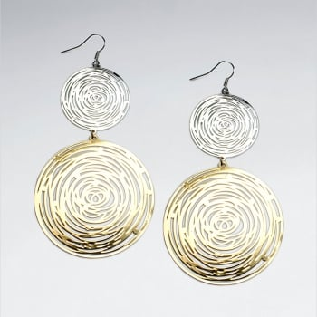 Brass Double Circles Gradual Abstract Spiral Two Tone Earrings
