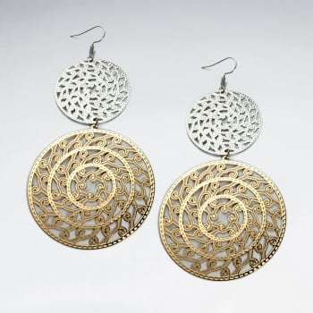 Brass Double Doubloon Gradual Size Duel Tone Openwork Dangle Earrings