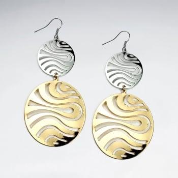 Brass Double Openwork Zebra Stripe Gradual Size Duel Tone Dangle Hook Earrings