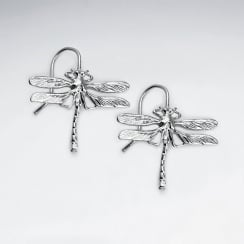 Brass Dragonfly Hook Earrings