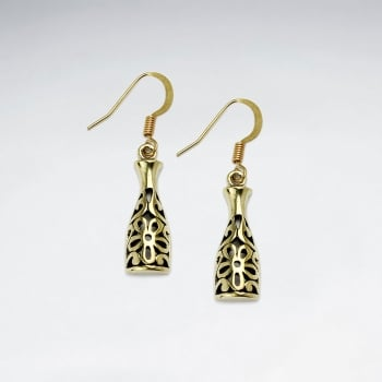 Brass Filigree Long Bottom Floral Designs Dangle Earrings