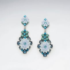 Brass Floral Blue Mixed Color Crystal Earring