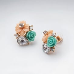 Brass Flower Bouquet Mixed Color Crystal Earrings