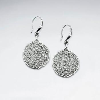 Brass Gfiligree Style Circle Disc Earrings