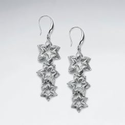 Brass Gradual Star Cascade Earrings