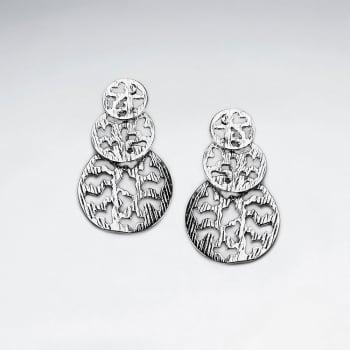 Brass Gradual Triple Circle Drop Filigree Earrings