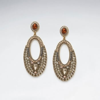 Brass Mixed Color Crystal India Bollywood Inspired Open Oval Earring