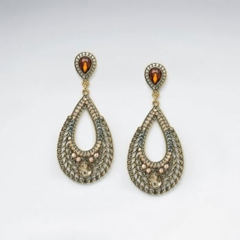 Brass Mixed Color Crystal India Bollywood Inspired Openwork Teardrop Earring