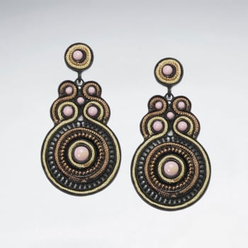 Brass Mixed Ornate Disc Earrings