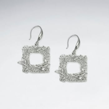 Brass Open Square Texture Crystal Earings