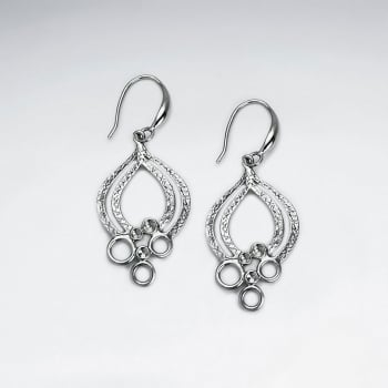 Brass Openwork Decorated Marquis Hook Earrings