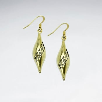 Brass Ornate Stripe Filigree Slim Teardrop Dangle Earrings
