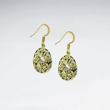 Brass Oval Egg Shaped Puffed Filigree Dangle Earrings