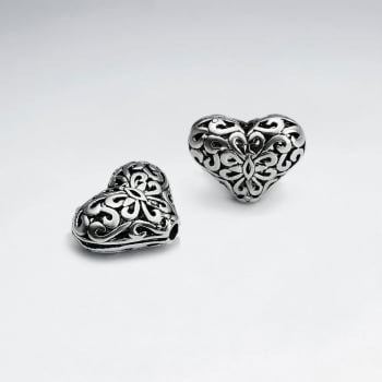 Brass Oxidized Double Sided Grooved Designs Heart Bead Pack Of 5 Pieces