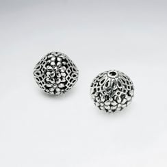 Brass Oxidized Filigree Round Organic Bead Pack Of 5 Pieces