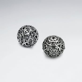 Brass Oxidized  Ornamental Heart Ball Bead Pack Of 5 Pieces