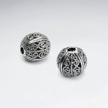Brass Oxidized Ornate Filigree Ball Bead Pack Of 5 Pieces