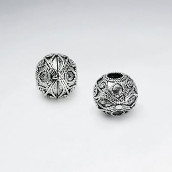 Brass Oxidized Ornate Textured Design Ball Bead Pack Of 5 Pieces