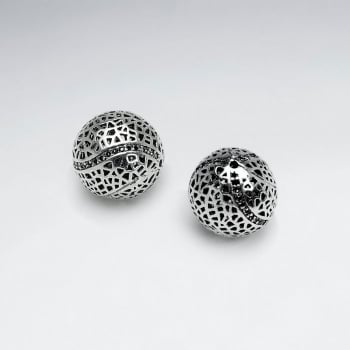 Brass Oxidized Perforated Dome Bead Pack Of 5 Pieces