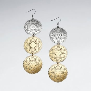 Brass Perforated Tri Tone Aztec Disc Dangle Cascade Earrings