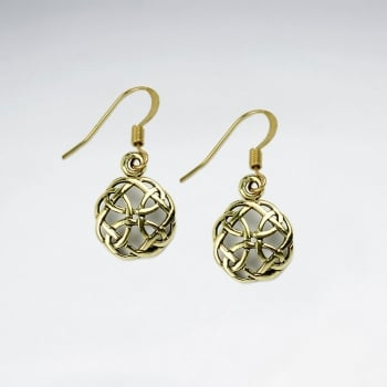 Brass Puffed Filigree Loop Circle Dangle Earrings