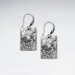 Brass Rectangle Fish Earrings