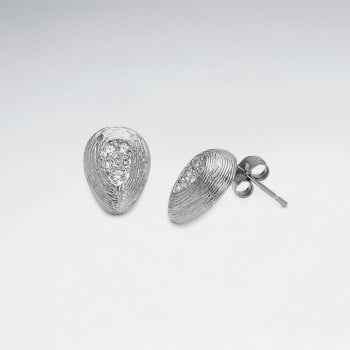 Brass Seedling Textured  Stud Earrings with Crystal Accent