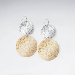 Brass & Silver Perforated Gradual Circle Drop Dangle Earring
