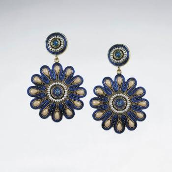 Brass  Stone Sunburst Antique Style Drop Earrings