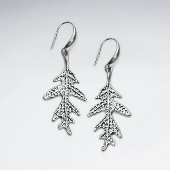Brass Tree Lead Textured Hook Earrings