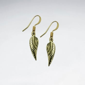 Brass Winged Feather Dangle Hook Earrings