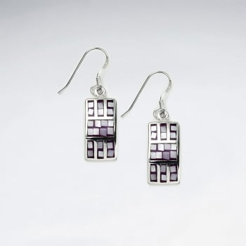 Bright Sterling Silver Shell Squared Earrings