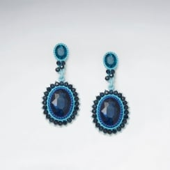 Brilliant Blues Jewelry Couture Brass Mixed Glass Bead Earrings